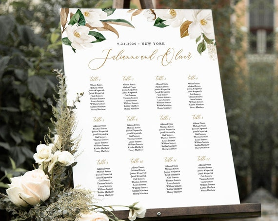 Magnolia Seating Chart Template, Wedding Seating Sign, Alphabetical & Table Number Order, 100% Editable Text, INSTANT DOWNLOAD #015-241SC