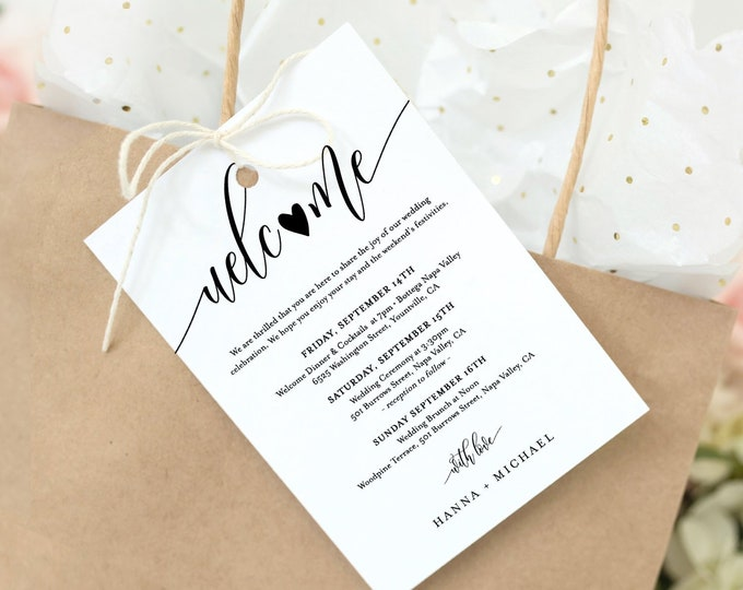 Editable Welcome Bag Tag, Rustic Welcome Letter and Itinerary Template, Printable Welcome Note, Order of Events, INSTANT DOWNLOAD 008-102WBT