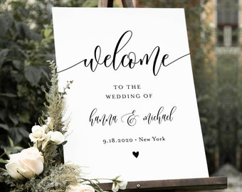 Welcome Sign Template, Printable Minimalist Wedding or Bridal Shower Sign, Instant Download, 100% Editable, Modern, Templett #008-156LS