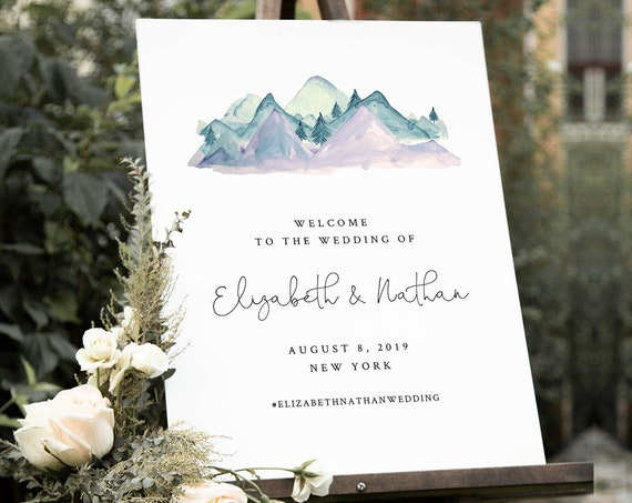 Mountain Welcome Sign Template, Wedding, Bridal Shower, Baby Shower Poster Sign, INSTANT DOWNLOAD, 100% Editable Text, Templett #063-165LS