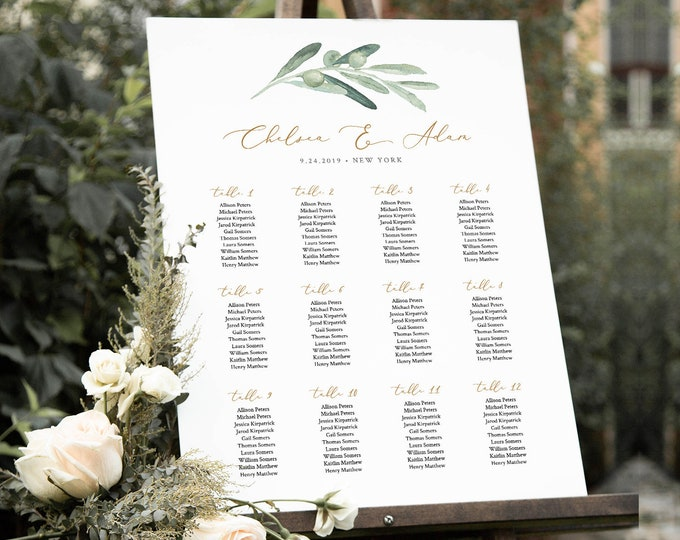 Wedding Seating Chart Template, Printable Bridal Shower Seating Sign, Olive Greenery, Instant Download, Editable Text, Templett #081-239SC