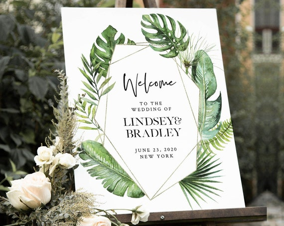 Tropical Welcome Sign Template, Palm Greenery Wedding or Bridal Shower Welcome Sign Poster, Instant Download, Editable, Templett #083-167LS