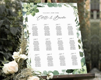 Greenery Seating Chart Template, Printable Wedding Seating Sign, Instant Download, 100% Editable Text, Templett, US & UK Sizes #082-233SC