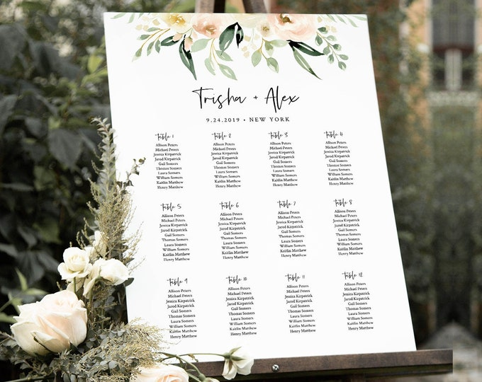 Wedding Seating Chart Template, Printable Bridal Shower Seating Sign, Instant Download, 100% Editable Text, Templett, Boho Floral #076-234SC