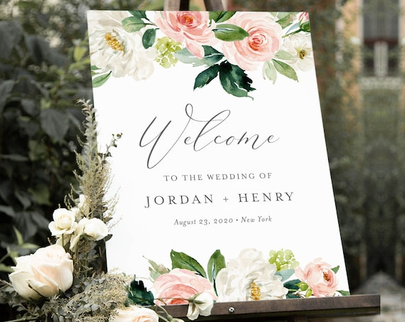 Boho Floral Welcome Sign Template, Bridal Shower, Instant Download, 100% Editable Text, Printable Wedding Poster Sign, Templett #043-162LS
