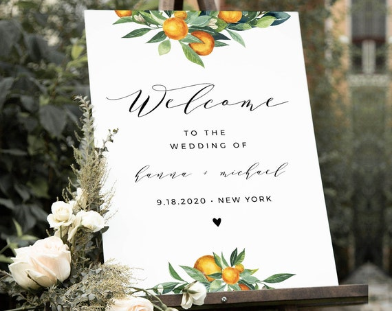 Welcome Sign Template, Printable Citrus Orange Blossom Wedding or Bridal Shower Sign, Instant Download, 100% Editable, Templett #084-157LS