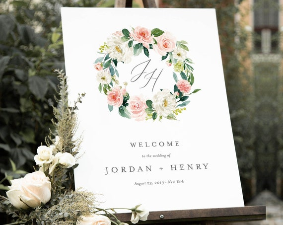 Welcome Sign Template, Instant Download, Wedding Monogram, Bridal Shower, 100% Editable, Printable Poster, Florals, US & UK Sizes #043-121LS