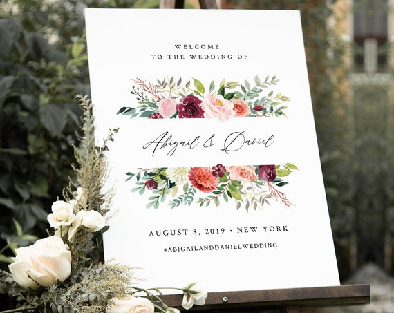 Welcome Sign Template, Printable Boho Floral Summer Garden Wedding or Bridal Shower Poster, Instant Download, Editable, Templett #002-170LS