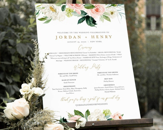 Wedding Program Sign Template, Boho Floral Order of Service / Events, Editable Text, Ceremony Poster, Instant Download, Templett #043-168LS