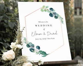 Welcome Sign Template, Wedding, Bridal Shower or Baby Shower Sign, Greenery & Rose Gold, Instant Download, Editable, Templett #068B-159LS