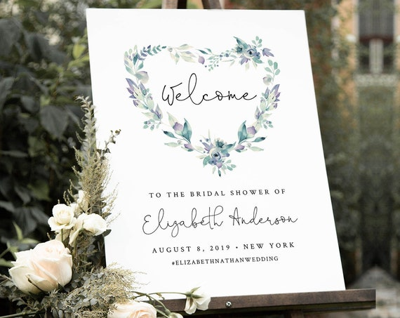 Heart Welcome Sign Template, Wedding, Bridal Shower, Baby Shower Poster Sign, INSTANT DOWNLOAD, 100% Editable Text, Templett #063-164LS