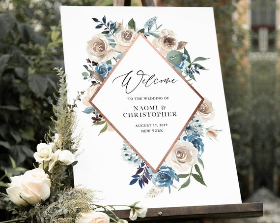 Welcome Sign Template, Wedding or Bridal Shower Welcome Sign Poster, Blue & Cream Floral, Instant Download, Editable, Templett #077-153LS