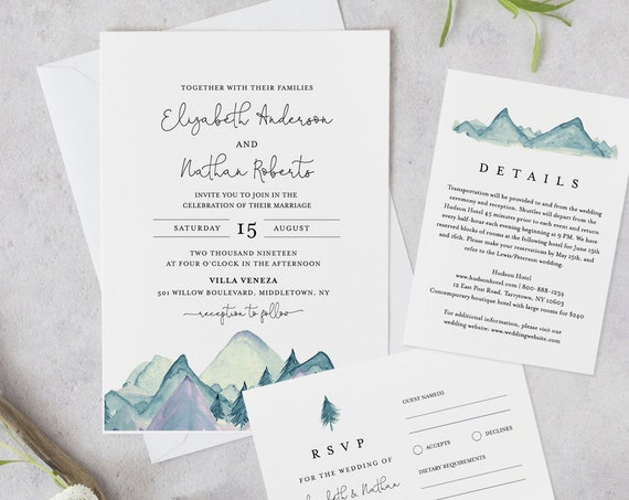Mountain Wedding Invitation Template, Printable Invite, RSVP and Details, INSTANT DOWNLOAD, 100% Editable Text, Rustic Pine, Templett #063A