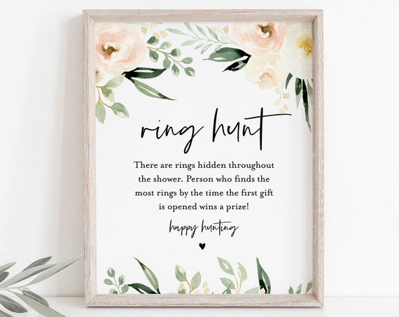 Ring Hunt Game, Peach Florals Bridal Shower Game, Printable & Editable Ring Game, Instant Download, Editable Template, Templett #076-187BG
