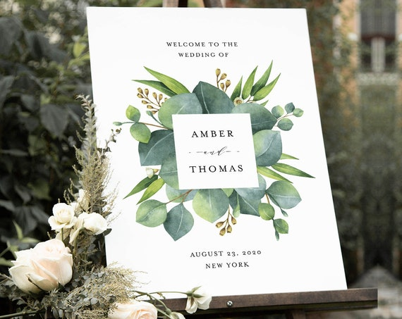 Eucalyptus Welcome Sign Template, Printable Greenery Wedding or Bridal Shower Sign, Instant Download, Editable Text, Templett #036-169LS