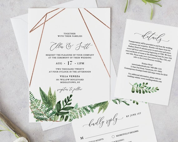 Greenery Wedding Invitation Template, Printable Invite, RSVP and Details, INSTANT DOWNLOAD, 100% Editable Text, Boho Foliage, Templett #080B