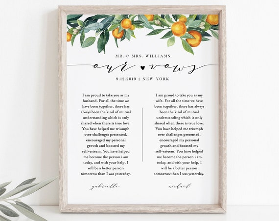 Wedding Vow Wall Art, Anniversary Gift, 1st Year Paper, Wedding Keepsake, Editable Template, INSTANT DOWNLOAD, 8x10, 11x14, 16x20 #084-158LS