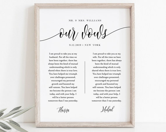Anniversary Gift, 1st Year Paper, Wedding Vow Keepsake Wall Art, 100% Editable Template, INSTANT DOWNLOAD, 8x10, 11x14, 16x20 #008-143LS