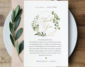 Wedding Thank You Card Template, Greenery & Gold, Printable In Lieu of Favors, INSTANT DOWNLOAD, 100% Editable Text, Templett #056-116TYN