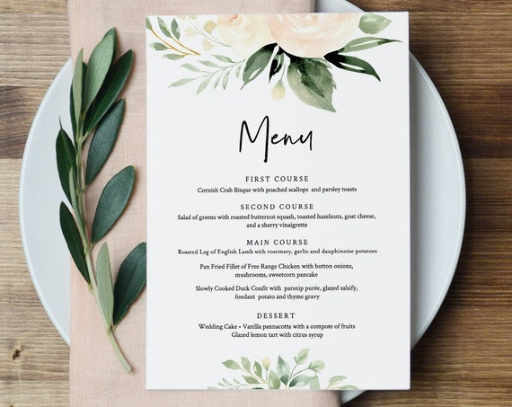 Menu Template, Boho Floral Greenery Wedding Menu Card, Printable DIY Dinner Menu, INSTANT DOWNLOAD, Editable Text, 5x7 & 3.65x9 #076-136WM