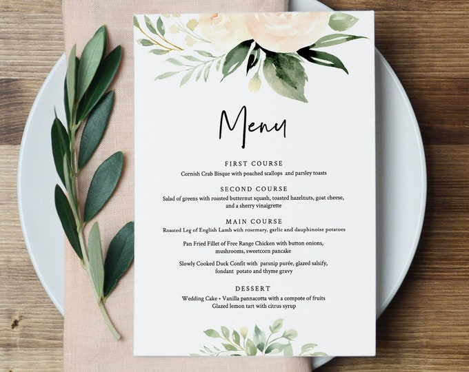 Menu Template, Boho Floral Greenery Wedding Menu Card, Printable DIY Dinner Menu, INSTANT DOWNLOAD, Editable Text, 5x7 & 3.65x9 #076-163WM