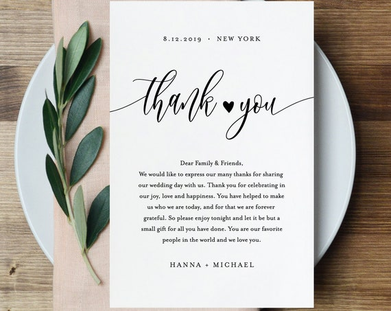 Thank You Note Template, Rustic Wedding In Lieu of Favor Card, 100% Editable, Printable Napkin Thank You Card, INSTANT DOWNLOAD #008-115TYN