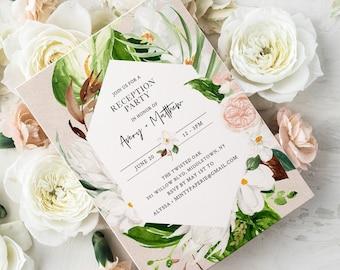 Tropical Reception Party Printable, Destination Wedding, Editable Invitation, INSTANT DOWNLOAD #079-112WR