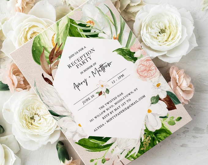 Tropical Reception Party Printable, Destination Wedding, Editable Invitation, INSTANT DOWNLOAD #079-112WR