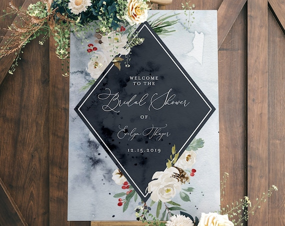 Welcome Sign Template, Bridal Shower Welcome Poster, Wedding Welcome Sign, Editable Text, Instant Download, Templett, DIY #071-140LS