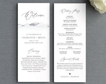 Mountain Wedding Program Template, Printable Rustic Order of Service, Editable Text, Flat Program, Instant Download, Templett #004-224WP