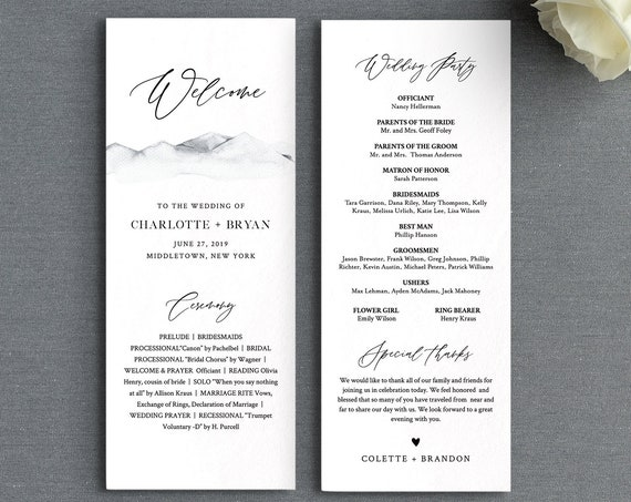 Mountain Wedding Program Template, Printable Rustic Order of Service, Editable Text, Flat Program, Instant Download, Templett #004-224WP