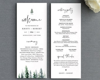 Pine Wedding Program Template, Printable Rustic Order of Service, 100% Editable Text, Flat Program, Instant Download, Templett #073-219WP