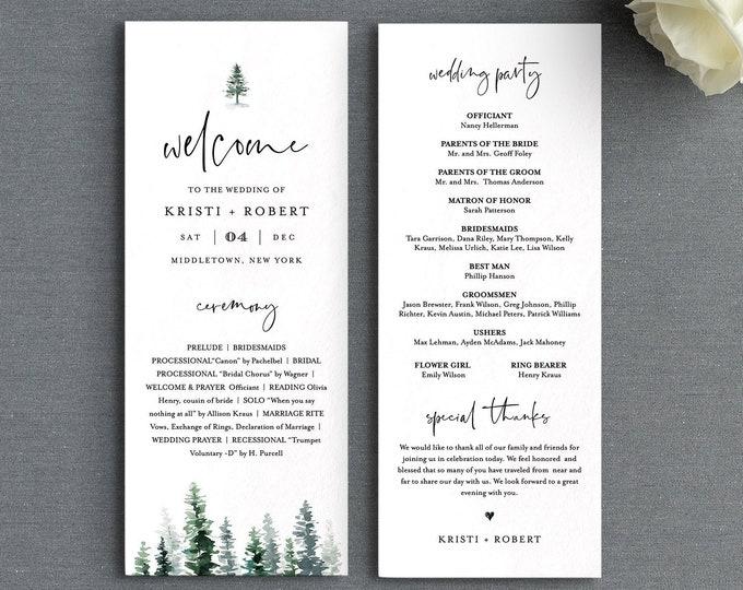 Pine Wedding Program Template, Printable Rustic Order of Service, 100% Editable Text, Flat Program, Instant Download, Templett #073-219WP