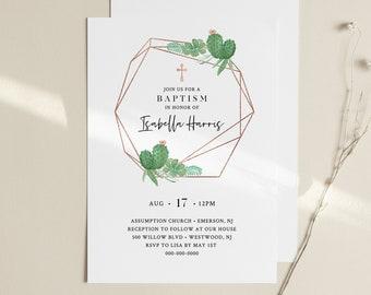 Baptism Invitation Template, Cactus & Succulent, Printable Christening Invite, 100% Editable Text, Instant Download, Templett #086-111BC