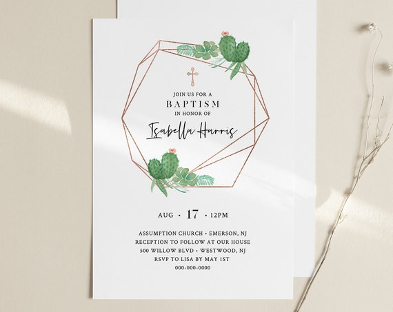 Baptism Invitation Template, Cactus & Succulent, Printable Christening Invite, 100% Editable Text, Instant Download, Templett #086-111BC
