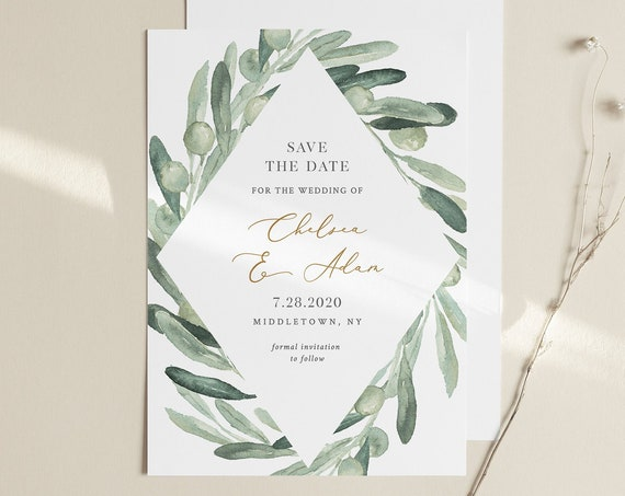 Save the Date Template, Wedding Date Announcement, Olive Greenery, Instant Download, 100% Editable Text, Templett, 4x6 & 5x7 #081-147SD