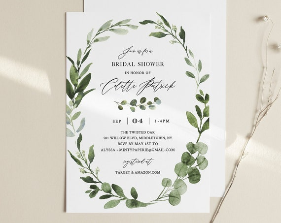 Greenery Bridal Shower Invitation Template, Boho Foliage Couples Shower Invite, Editable Bridal Brunch, INSTANT DOWNLOAD, Templett 082-236BS