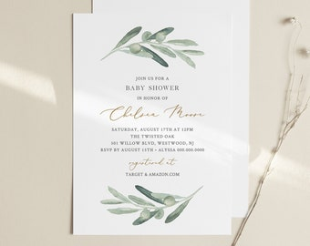Greenery Baby Shower Invitation Template, Printable Watercolor Olive Branch Invite, 100% Editable Text, Instant Download, Templett 081-120BA
