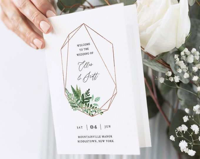 Wedding Program Template, Folded Order of Service, Greenery & Rose Gold Geometric Frame, INSTANT DOWNLOAD, Editable, Templett #080B-133WP