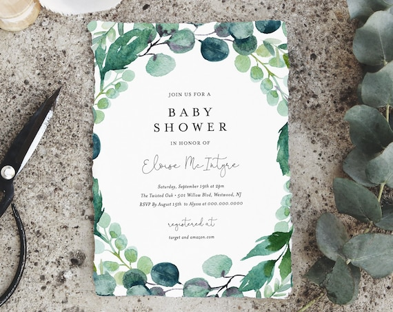 Greenery Baby Shower Invitation Template, Printable Baby Shower Invite, Gender Neutral, 100% Editable Text, Instant Download, DIY #068-115BA