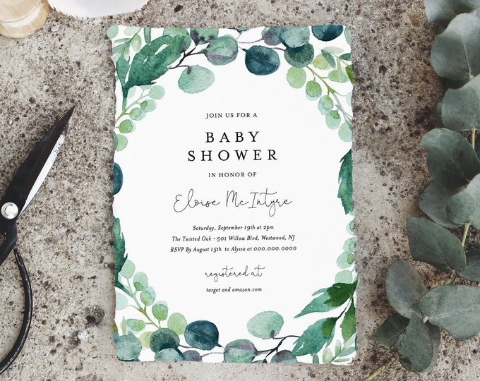 Greenery Baby Shower Invitation Template, Printable Baby Shower Invite, Gender Neutral, 100% Editable Text, Instant Download, DIY 068B-115BA