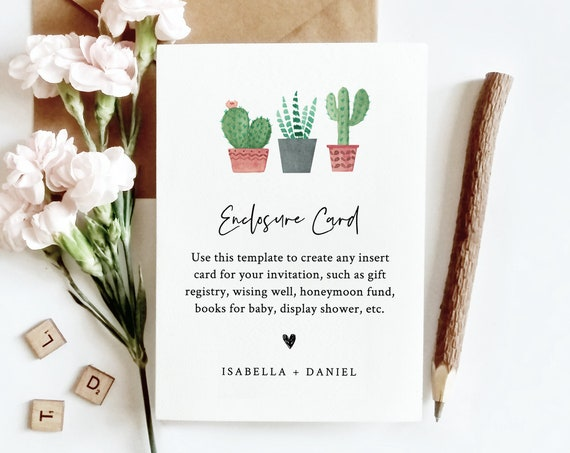Cactus Enclosure Card Template, Create Any Insert Card for Wedding, Bridal or Baby Shower, Book Request, Details, Editable Text #086-139EC