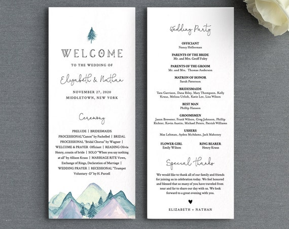 Rustic Wedding Program Template, Mountain Pine Order of Service, Editable, Printable Flat Program, Instant Download, Templett #063-225WP