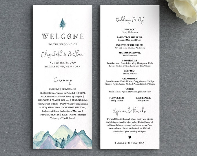 Rustic Wedding Program Template, Mountain Pine Order of Service, Editable, Printable Flat Program, Instant Download, Templett #063-225WP