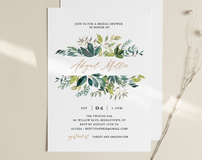 Greenery Bridal Shower Invitation, Printable Foliage Couples Shower Invite Template, INSTANT DOWNLOAD, 100% Editable Text, Templett #225BS