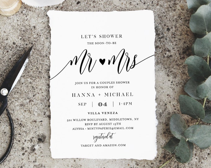 Couples Shower Invitation Template, Printable Wedding Shower Invite, Jack and Jill, Rustic Bridal Shower, 100% Editable, Templett #008-132BS