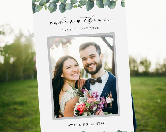 Eucalyptus Photo Prop Frame, Social Media Frame, Wedding, Bridal Shower, Birthday, Editable Template, INSTANT DOWNLOAD, Templett #036-105PP