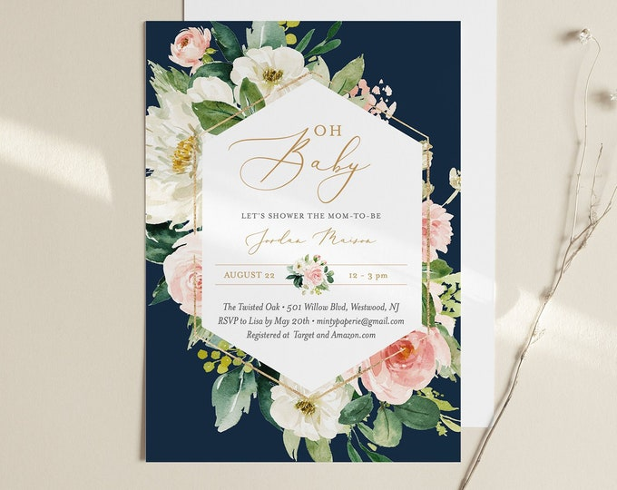 Boho Baby Shower Invitation Template, Printable Floral Navy Baby Shower, Gender Neutral, 100% Editable Text, Instant Download #043-116BA