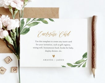 Enclosure Card Template, Create Any Insert Card for Wedding, Bridal or Baby Shower, Book Request, Wishing Well, Details, Editable #067-140EC
