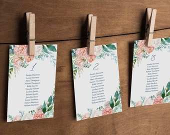 Editable Seating Chart Printable, Table Seating Cards, Boho Greenery Floral Wedding Seating Plan Template, INSTANT DOWNLOAD #069-114SP